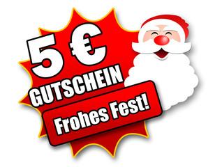 """Siegel """"5 Euro Gutschein - Frohes Fest!"""""""