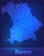 Bayern mit Grenzen in einfarbig Scribble