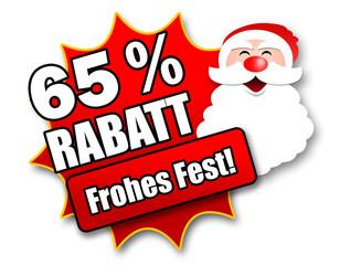 "Siegel ""65 Prozent Rabatt - Frohes Fest!"""