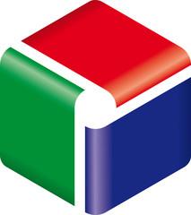 Logo cubo dinamico 3 colori