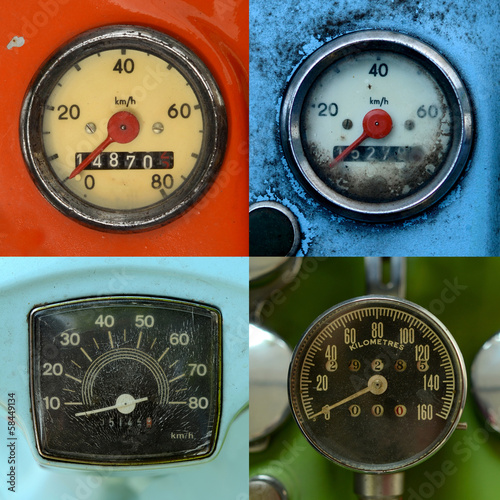 Set Of Vintage Speedometers