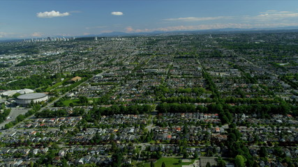 Aerial view residential suburbs, Vancouver