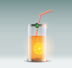 orange juice in a glass in the form of a battery