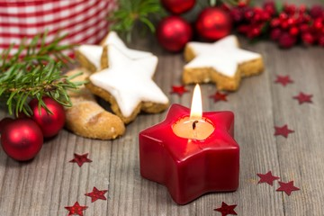 Christmas candle and biscuits