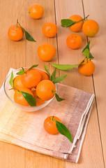 Many orange tangerines