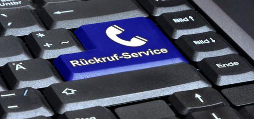 Laptoptaste - Rückruf-Service mit Telefonhörer