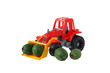 toy tractor with fruit in the bucket
