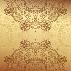 Abstract lace decoration ,  gold background