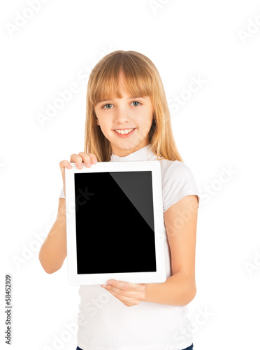 happy child girl with blank tablet computer