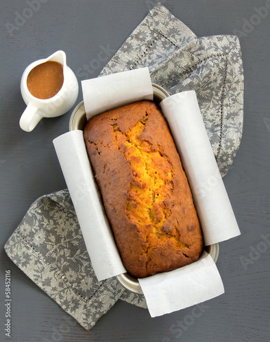 Freshly baked homemade banana bread with pumpkin and pecan.