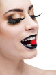 beauty woman with long  lashes and black lips