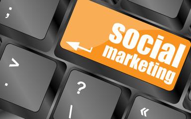 social marketing or internet marketing concepts, key of keyboard