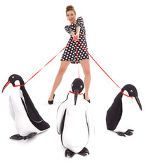 Fashion Girl in dress  holding a large toy penquin. Shot in stud