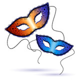 two Venetian carnival masks on a white background