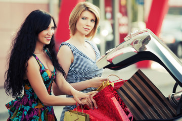Two female shoppers at the car