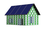House made from Euro banknotes, with solar panels
