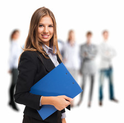 Businesswoman holding a clipboard