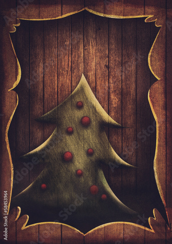 Christmas card - Vintage Christmas tree in wooden frame