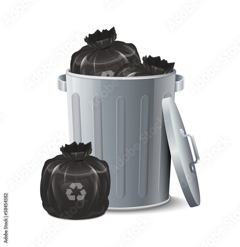 Iron Bin With Garbage Bag