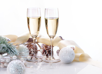 Two Champagne Glasses. Christmas Celebration