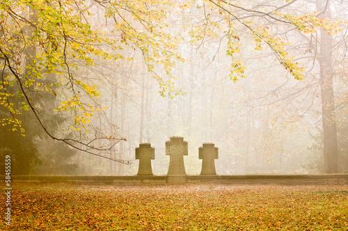 Leinwanddruck Bild Grabsteine auf dem Ehrenfriedhof