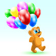 Illustration funny bear with balloons. Birthday.