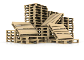 Group wooden pallets