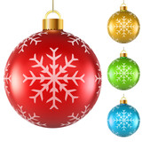 Colorful Christmas balls with snowflake pattern