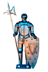 A vintage Iron Knight with spear and shield