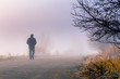 men silhouette in the fog - 58456382