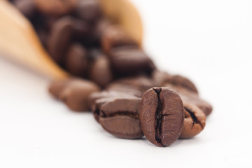 coffee beans in the foreground