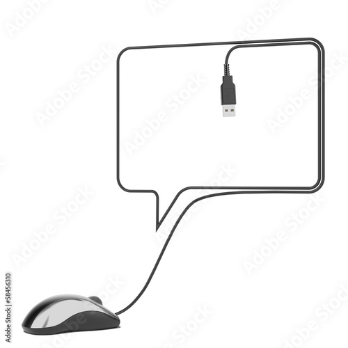 Black mouse and cable as speech bubble