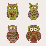 Vector set of decorative cute owls