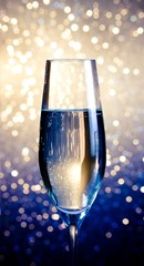 one flute of champagne on abstract background