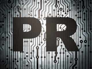 Marketing concept: circuit board with PR