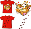 kid shirt with cute bear printed - isolated on white