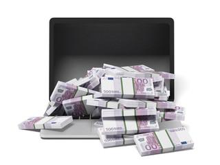 White laptop and euro