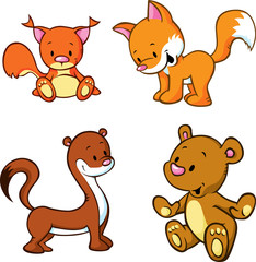 fox, bear, weasel and squirrel  - cute animals cartoon