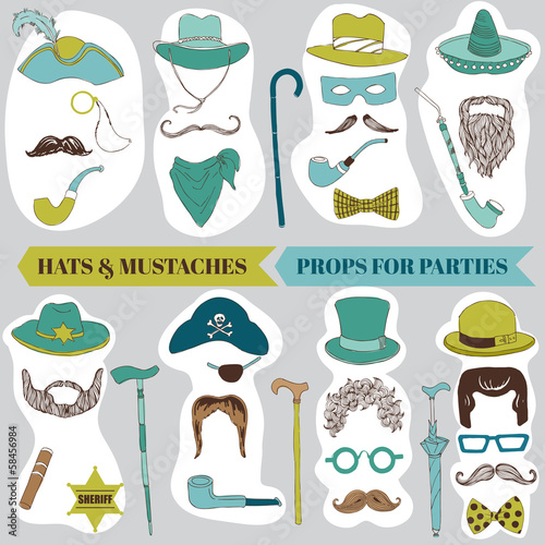 Photo Booth Party set - Glasses, hats, lips, mustache, masks