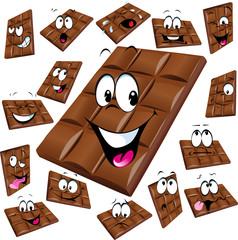 milk chocolate cartoon with many expression