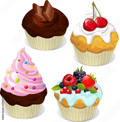 Cupcakes and muffins different flavors and colors isolated