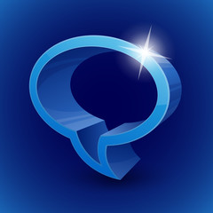 Shining 3d chat bubble symbol on blue background