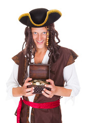 Pirate Holding Treasure Box