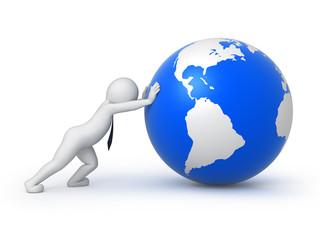 businessman rolls the globe