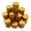 Large group of paneled golden Bitcoins on white