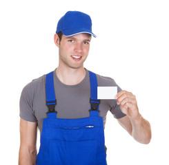 Mechanic Holding Visiting Card