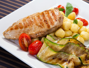 Grilled chicken breast w grilled aubergine and gnocchi