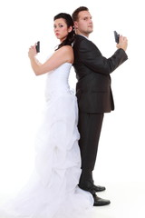Married couple problem discord, bride groom with gun