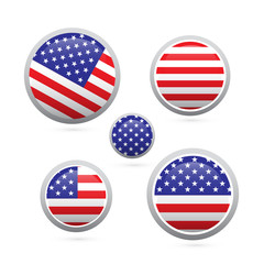 american flag buttons set isolated on white background