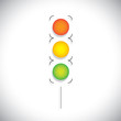 abstract traffic signal vector with red, orange & green lights